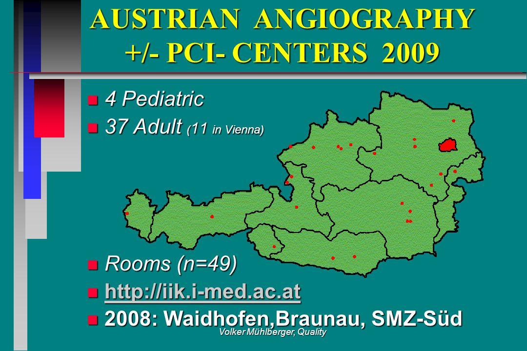 Volker Mühlberger, Quality AUSTRIAN ANGIOGRAPHY +/- PCI- CENTERS 2009 AUSTRIAN ANGIOGRAPHY +/- PCI- CENTERS 2009 n 4 Pediatric n 37 Adult ( 11 in Vien
