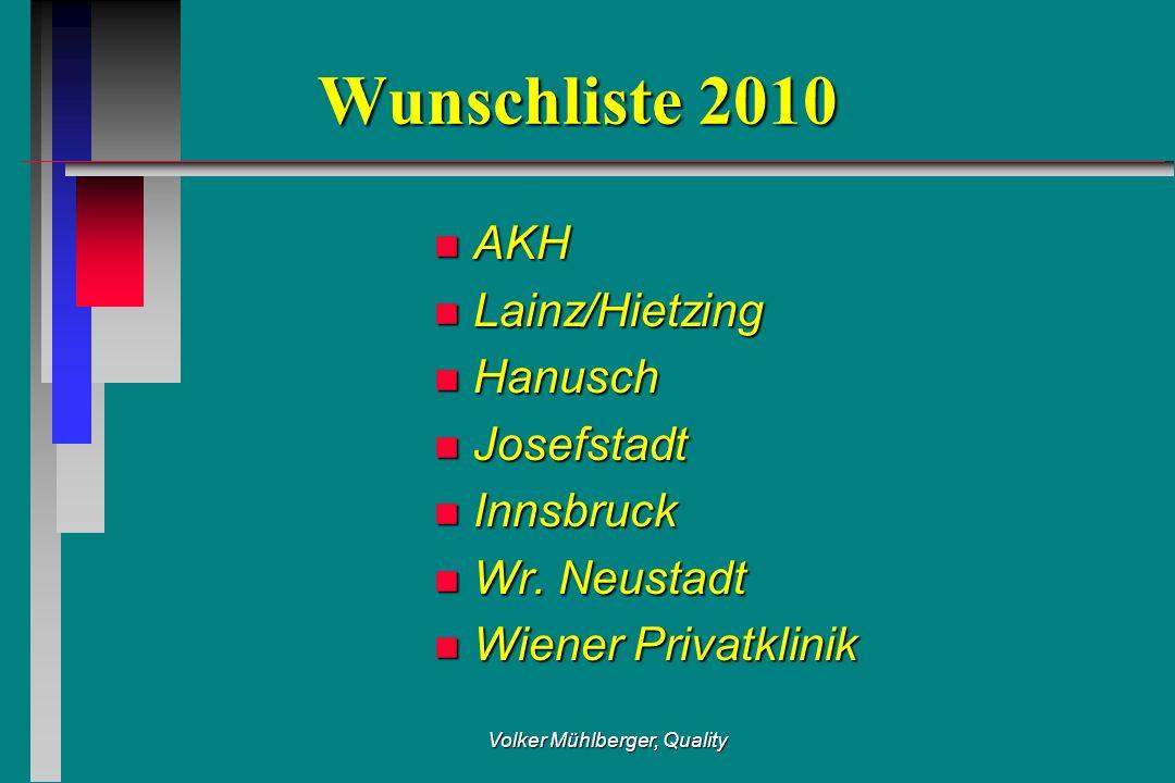 Volker Mühlberger, Quality Wunschliste 2010 n AKH n Lainz/Hietzing n Hanusch n Josefstadt n Innsbruck n Wr. Neustadt n Wiener Privatklinik