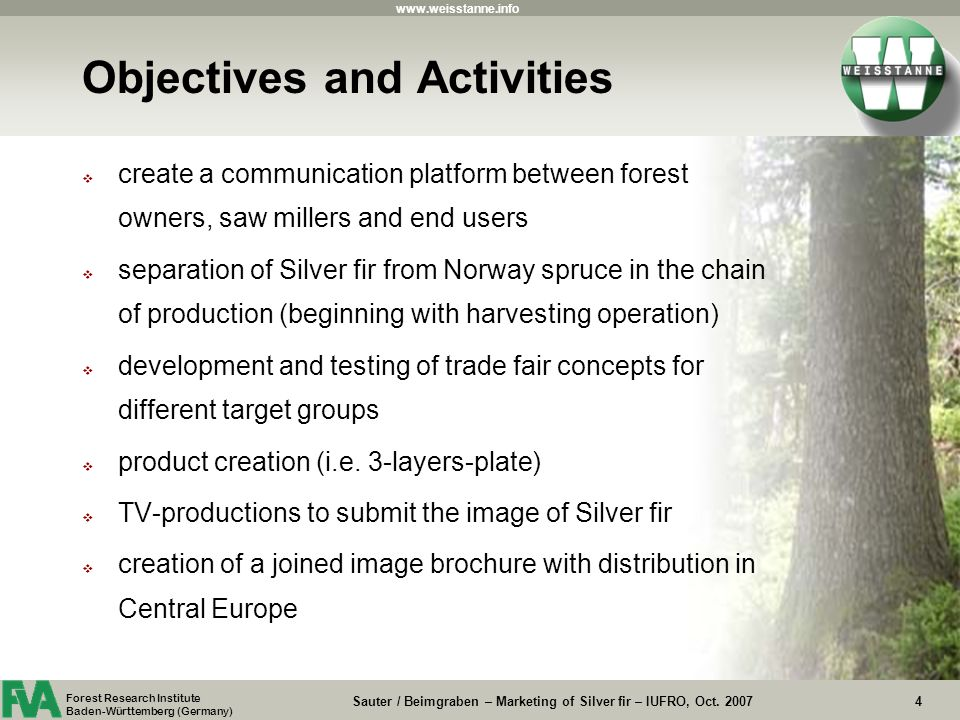www.weisstanne.info Sauter / Beimgraben – Marketing of Silver fir – IUFRO, Oct.