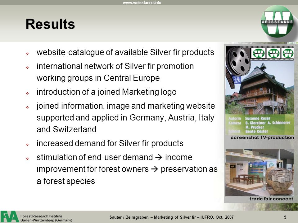 Sauter / Beimgraben – Marketing of Silver fir – IUFRO, Oct.
