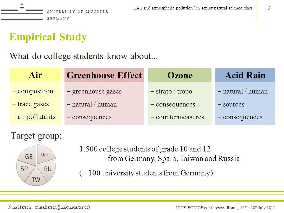 Nina Harsch (nina.harsch@uni-muenster.de) U NIVERSITY OF M ÜNSTER G ERMANY ICCE-ECRICE conference, Rome, 15 th - 20 th July 2012 Empirical Study What