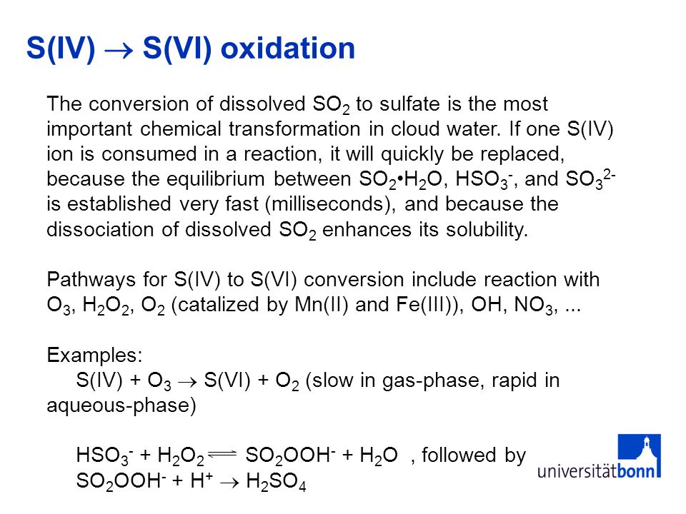 S(IV) S(VI) oxidation The conversion of dissolved SO 2 to sulfate is the most important chemical transformation in cloud water.