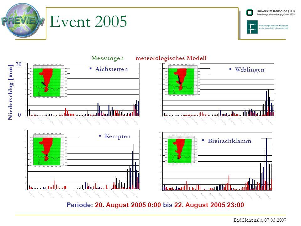 Bad Herrenalb, 07.03.2007 Aichstetten 20 0 Niederschlag [mm] Periode: 20. August 2005 0:00 bis 22. August 2005 23:00 Messungenmeteorologisches Modell