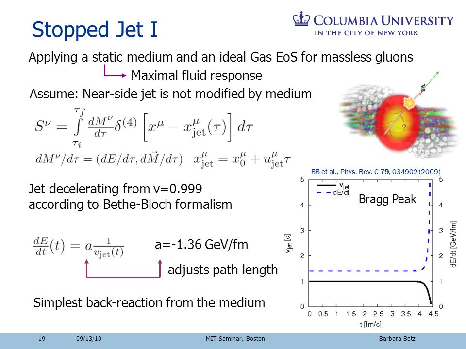 19 Stopped Jet I Applying a static medium and an ideal Gas EoS for massless gluons Assume: Near-side jet is not modified by medium Maximal fluid respo