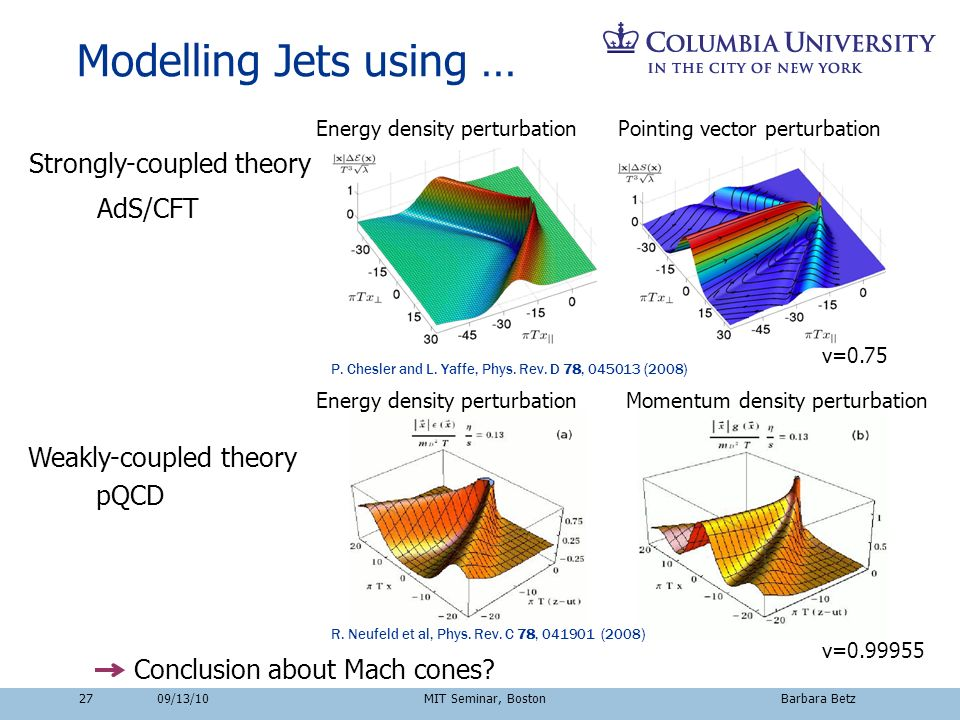 2709/13/10 MIT Seminar, Boston Barbara Betz Modelling Jets using … Conclusion about Mach cones? pQCD AdS/CFT P. Chesler and L. Yaffe, Phys. Rev. D 78,
