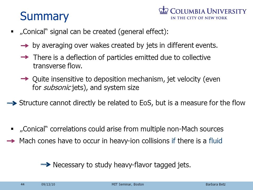 Summary Conical signal can be created (general effect): by averaging over wakes created by jets in different events. There is a deflection of particle