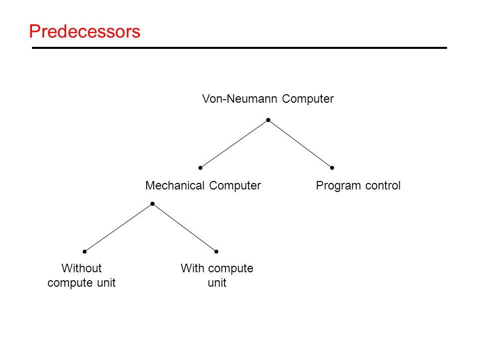 Predecessors Mechanical Computer Program control Without compute unit With compute unit Von-Neumann Computer