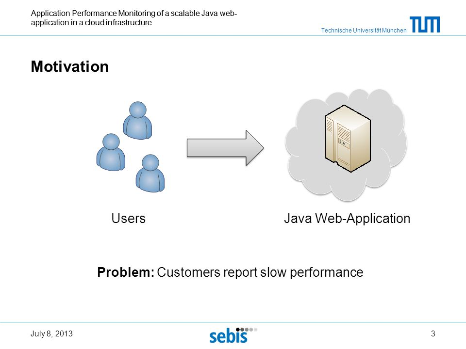 Technische Universität München Application Performance Monitoring of a scalable Java web- application in a cloud infrastructure Motivation July 8, 201