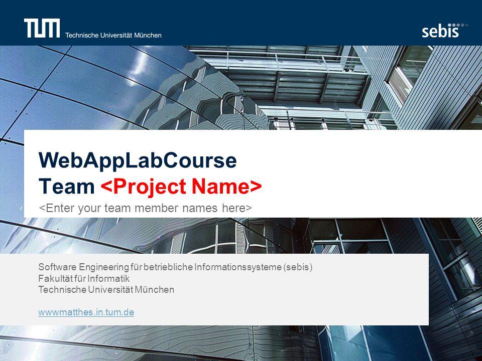Software Engineering für betriebliche Informationssysteme (sebis) Fakultät für Informatik Technische Universität München wwwmatthes.in.tum.de WebAppLabCourse Team