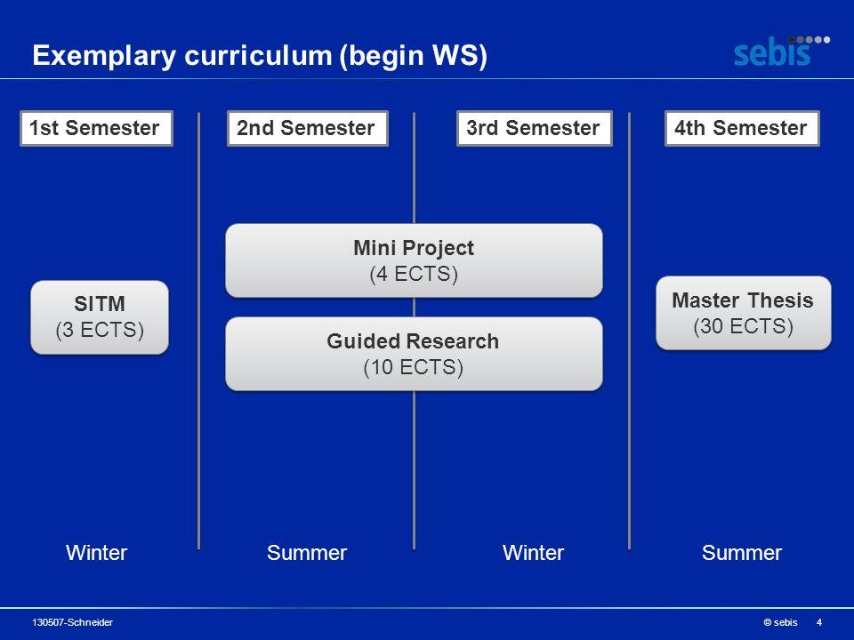 Exemplary curriculum (begin WS) © sebis130507-Schneider4 1st Semester2nd Semester3rd Semester4th Semester SITM (3 ECTS) SITM (3 ECTS) Mini Project (4 ECTS) Mini Project (4 ECTS) Guided Research (10 ECTS) Guided Research (10 ECTS) Master Thesis (30 ECTS) Master Thesis (30 ECTS) Winter Summer Winter Summer