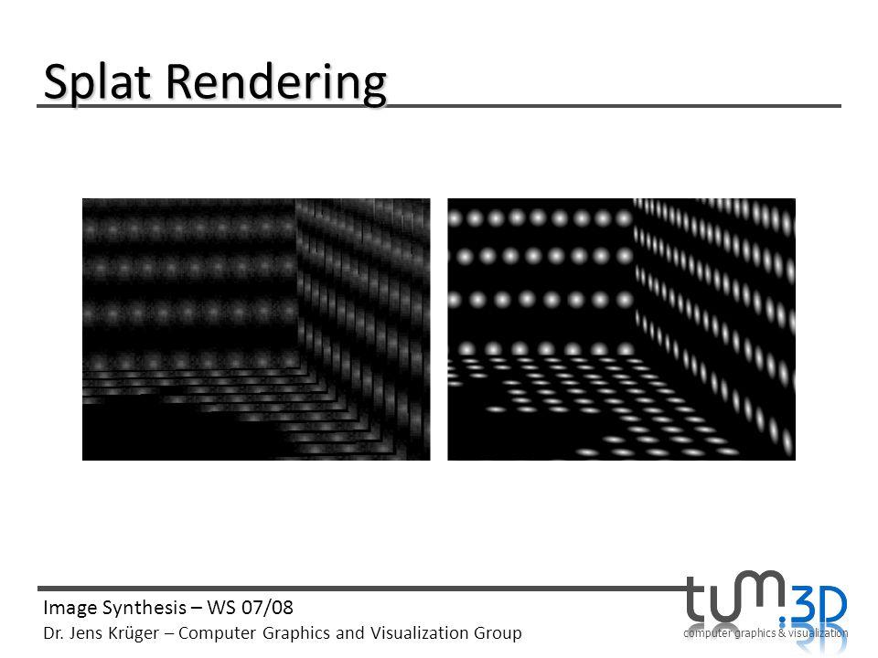 computer graphics & visualization Image Synthesis – WS 07/08 Dr. Jens Krüger – Computer Graphics and Visualization Group Splat Rendering