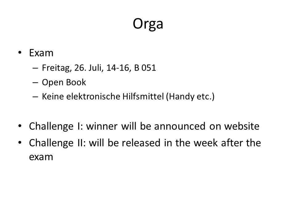 Orga Exam – Freitag, 26.