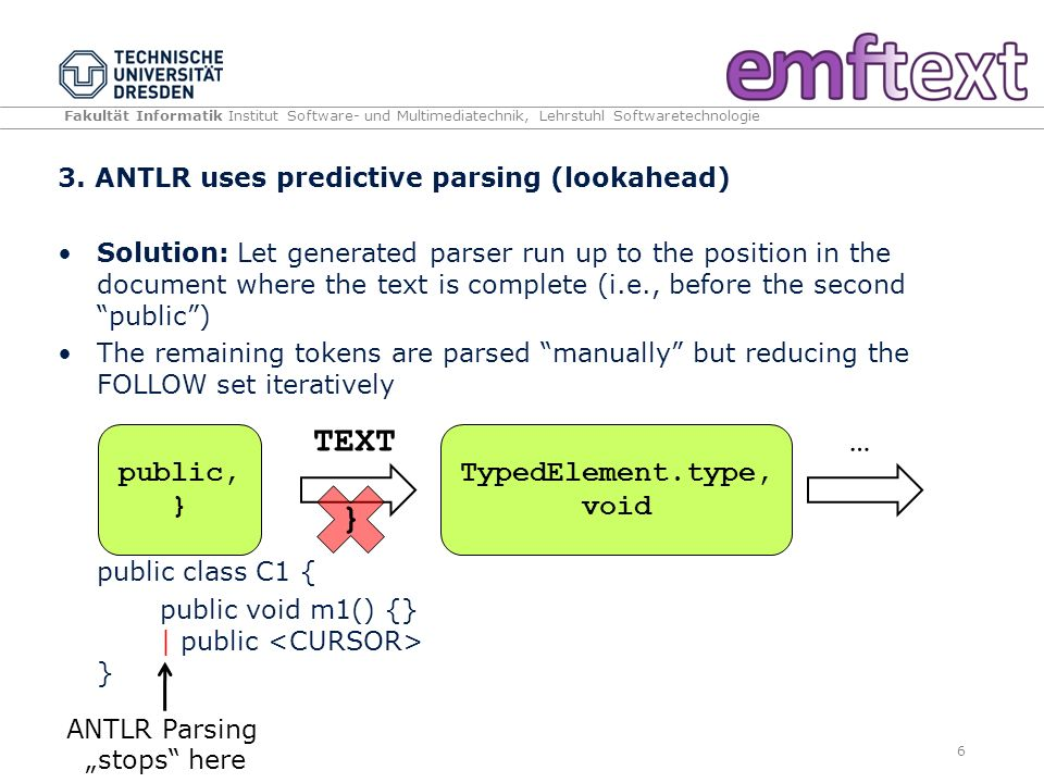 Fakultät Informatik Institut Software- und Multimediatechnik, Lehrstuhl Softwaretechnologie 3. ANTLR uses predictive parsing (lookahead) Solution: Let