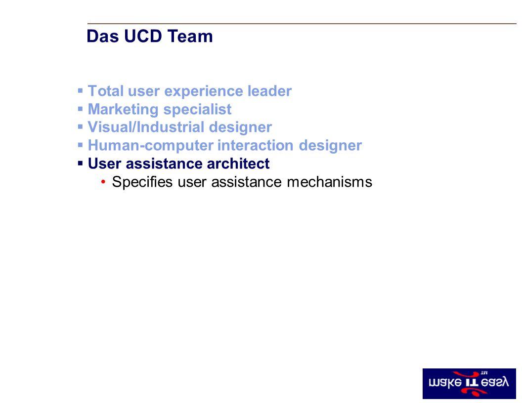 Total user experience leader Marketing specialist Visual/Industrial designer Human-computer interaction designer User assistance architect Specifies user assistance mechanisms Das UCD Team
