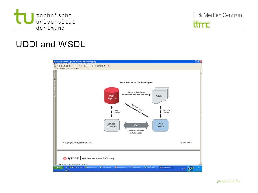 technische universität dortmund UDDI and WSDL Winter 2009/10 10