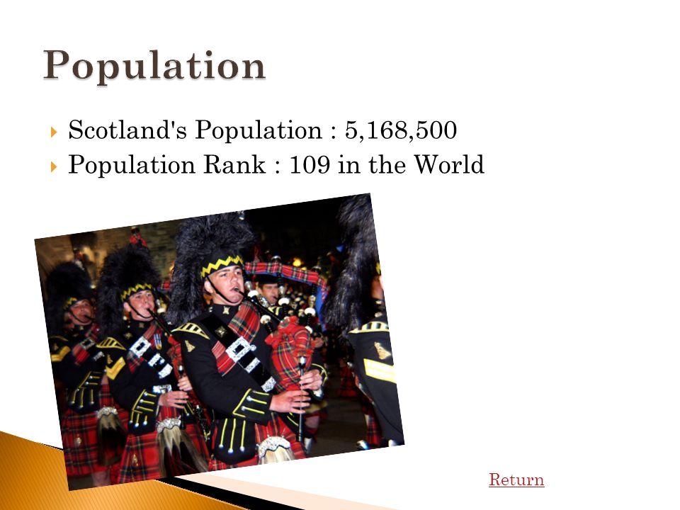 Scotland s Population : 5,168,500 Population Rank : 109 in the World Return