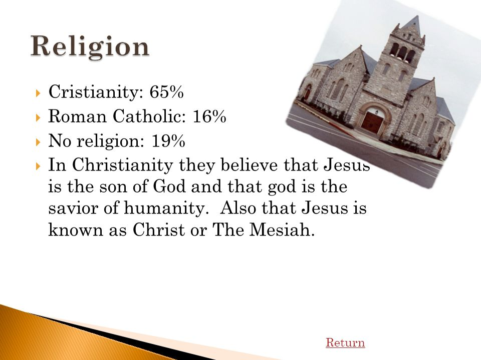 Cristianity: 65% Roman Catholic: 16% No religion: 19% In Christianity they believe that Jesus is the son of God and that god is the savior of humanity