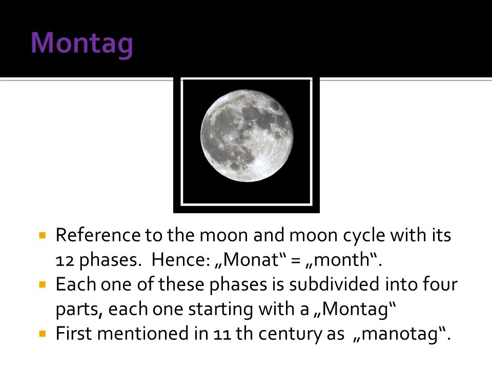 Reference to the moon and moon cycle with its 12 phases.