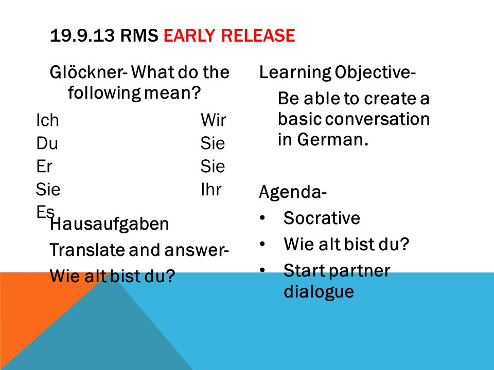 Glöckner- What do the following mean? Hausaufgaben Translate and answer- Wie alt bist du? Learning Objective- Be able to create a basic conversation i