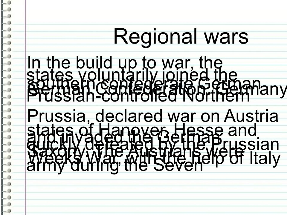 Regional wars In the build up to war, the southern confederate German states voluntarily joined the Prussian-controlled Northern German Confederation.