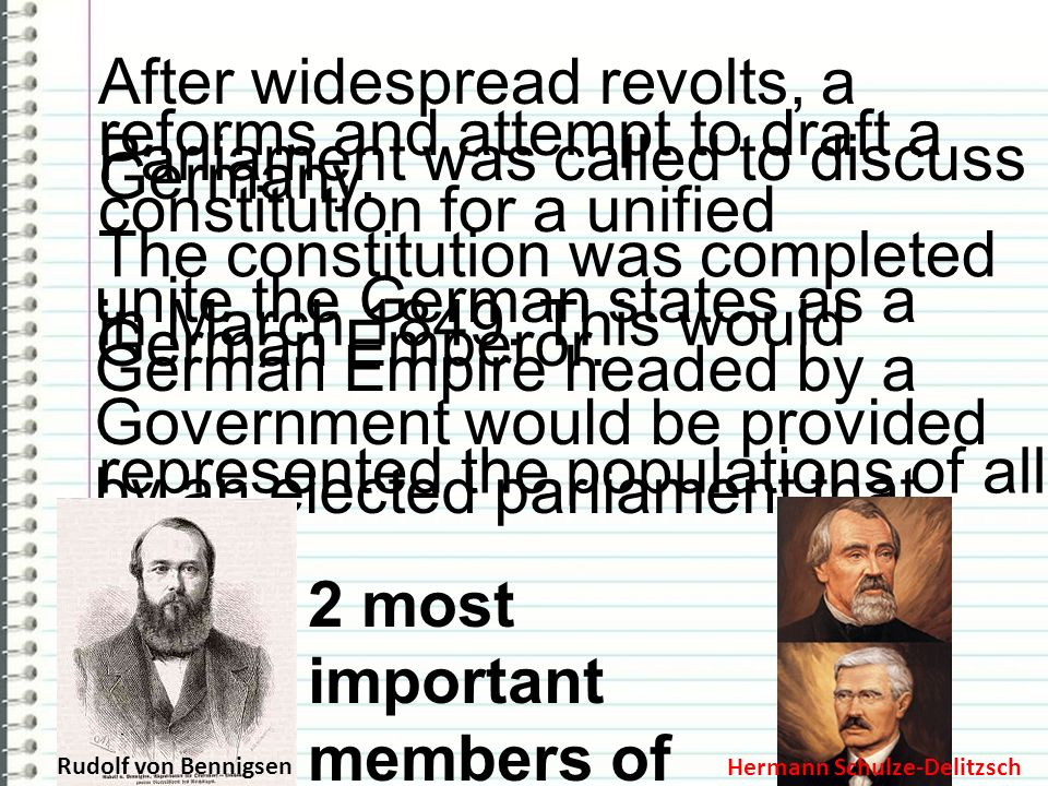 After widespread revolts, a Parliament was called to discuss reforms and attempt to draft a constitution for a unified Germany. The constitution was c