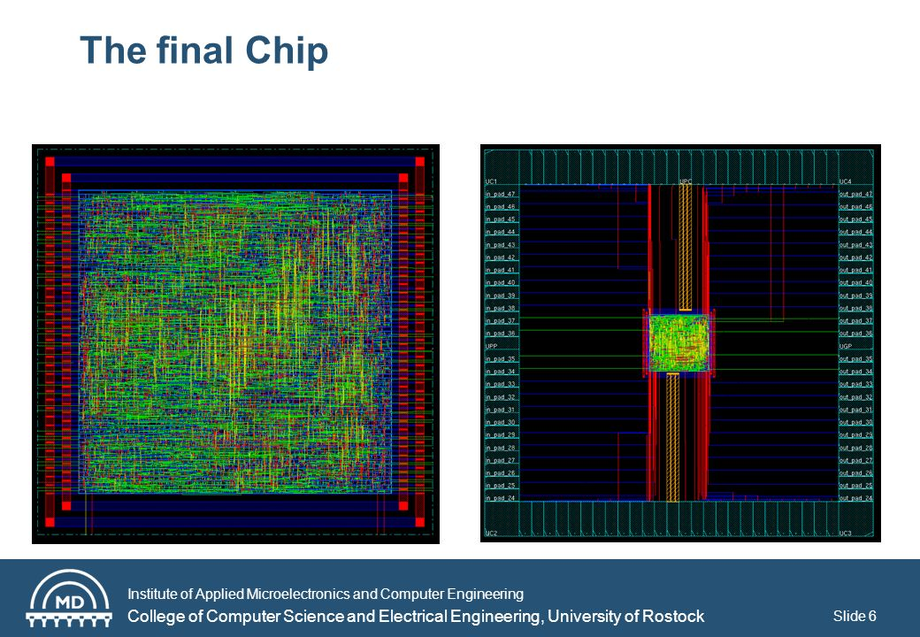 Institute of Applied Microelectronics and Computer Engineering College of Computer Science and Electrical Engineering, University of Rostock The final Chip Slide 6