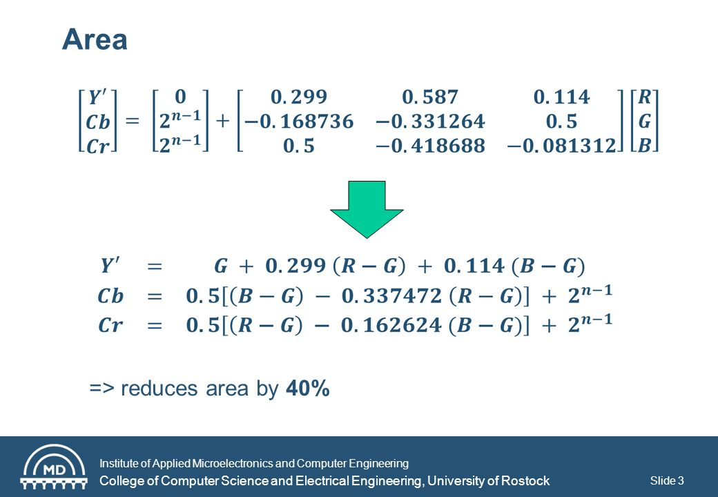 Institute of Applied Microelectronics and Computer Engineering College of Computer Science and Electrical Engineering, University of Rostock Slide 3 Area => reduces area by 40%