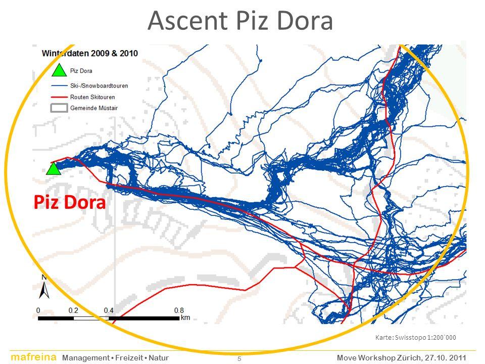 mafreina Management Freizeit Natur Move Workshop Zürich, 27.10. 2011 5 Piz Dora Ascent Piz Dora Karte: Swisstopo 1:200`000