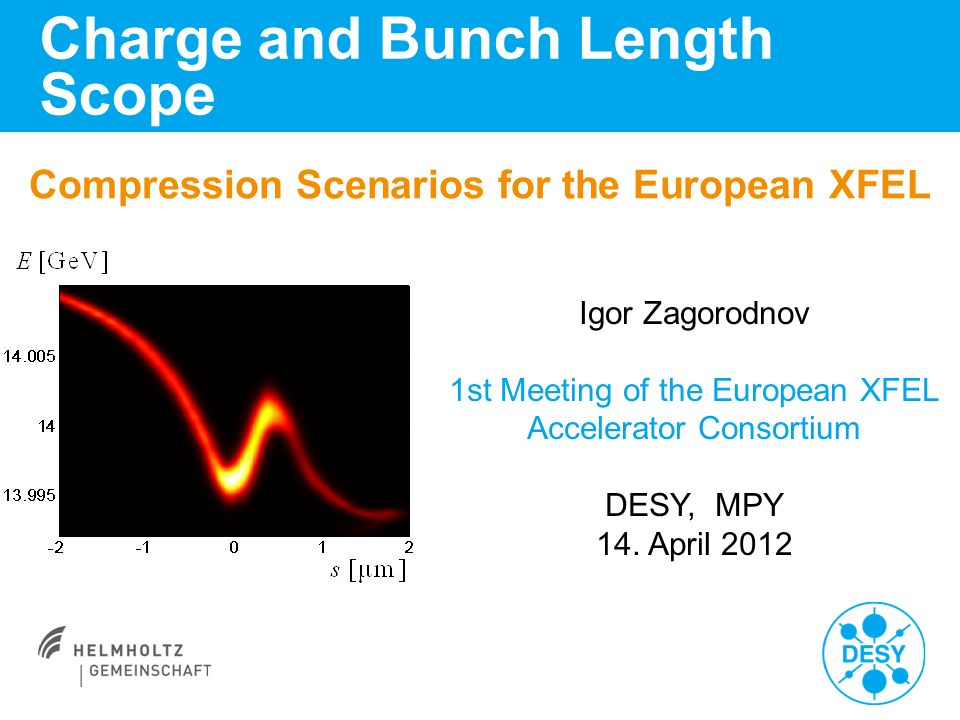 Compression Scenarios for the European XFEL Charge and Bunch Length Scope Igor Zagorodnov 1st Meeting of the European XFEL Accelerator Consortium DESY, MPY 14.