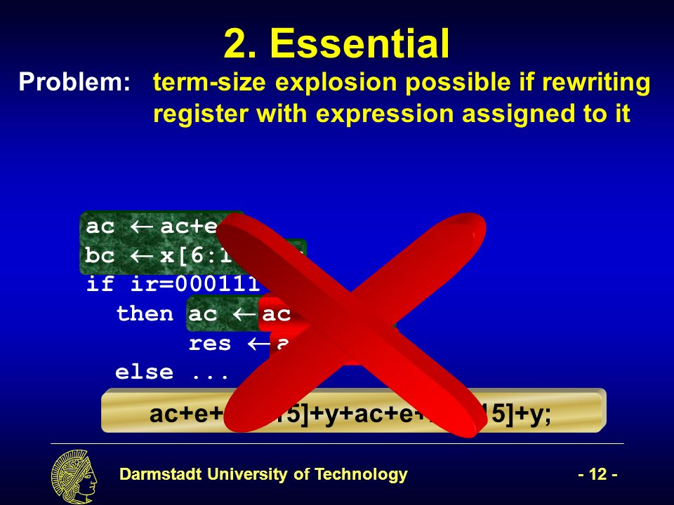 Darmstadt University of Technology- 12 - ac+e+x[6:15]+y; 2. Essential ac+e+x[6:15]+y+ac+e+x[6:15]+y; Problem:term-size explosion possible if rewriting