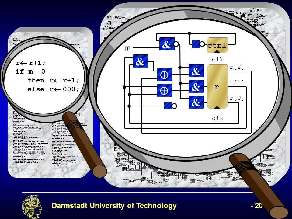Darmstadt University of Technology- 20 - r r+1; if m = 0 thenr r+1; else r 000; r[2] clk & r[1] & r[0] & r & & clk ctrl m