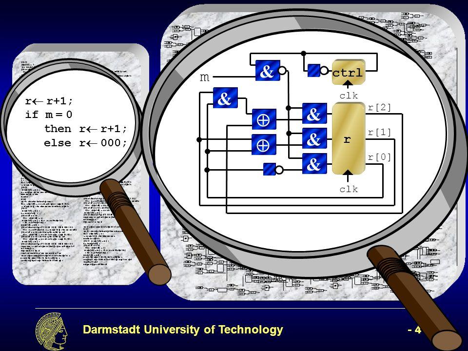 Darmstadt University of Technology- 45 - r 2 [2] clk & r 2 [1] & r 2 [0] & r & & clk ctrl m1m1 r 1 [2] clk & r 1 [1] & r 1 [0] & r & & clk ctrl m r[2] r[1] r[0] ctrl 2 ctrl 3 0 clk ctrl ctrl 1 (r+1)+1