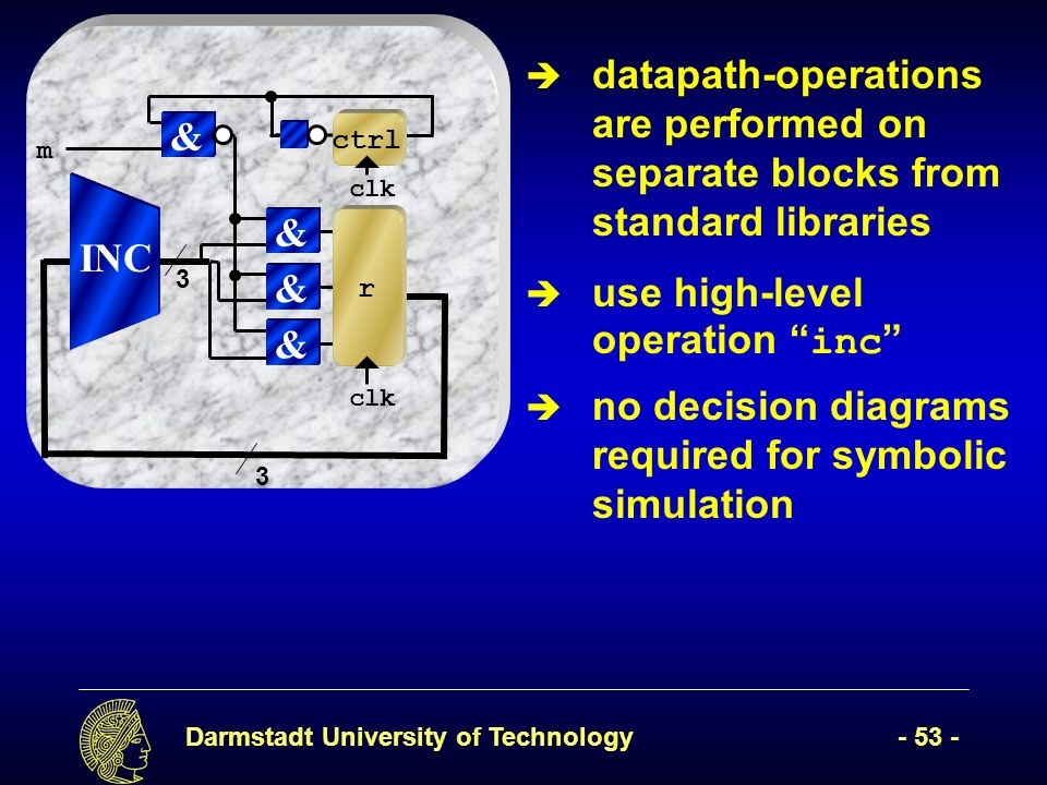 Darmstadt University of Technology- 53 - clk & & & r & ctrl m INC 3 3 no decision diagrams required for symbolic simulation datapath-operations are performed on separate blocks from standard libraries use high-level operation inc