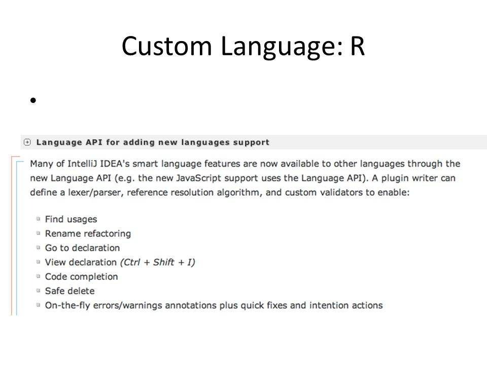 Custom Language: R