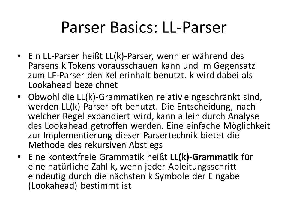 Parser Basics: LL-Parser Ein LL-Parser heißt LL(k)-Parser, wenn er während des Parsens k Tokens vorausschauen kann und im Gegensatz zum LF-Parser den