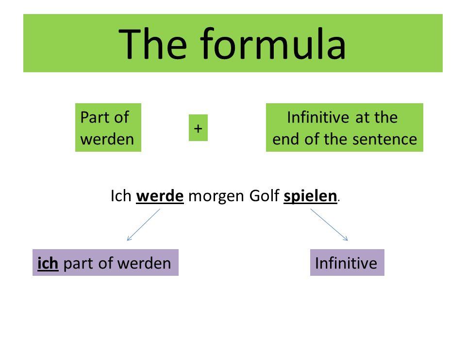The formula Part of werden + Infinitive at the end of the sentence Ich werde morgen Golf spielen. ich part of werdenInfinitive