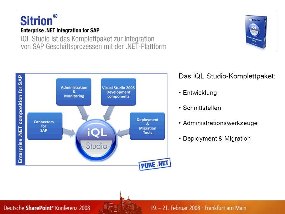 Das iQL Studio-Komplettpaket: Entwicklung Schnittstellen Administrationswerkzeuge Deployment & Migration