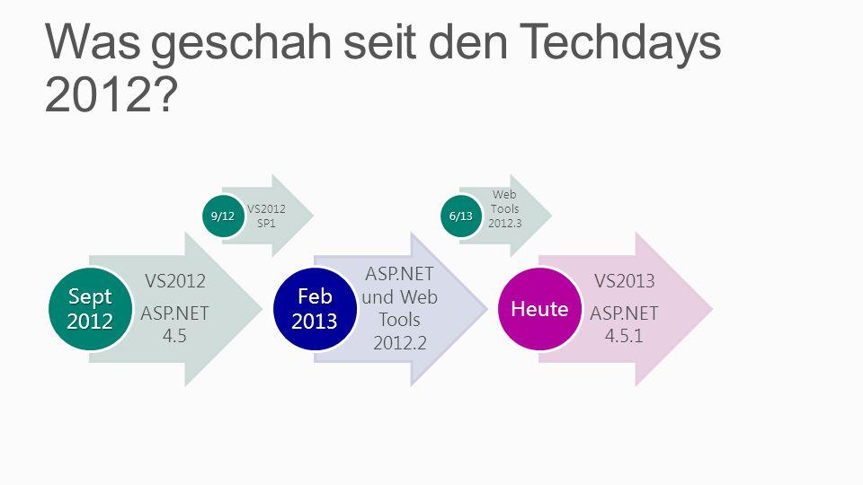 VS2012 und ASP.NET 4.5 VS 2012 HTML 5 Support Neuer CSS Editor Neuer JS Editor Publishing nach Azure DB Migrations ASP.NET 4.5 NuGet für Script & Libraries HTML 5 (MVC, Web Forms) Web Sockets Web API ASP.NET wird Open Source Web Pages, MVC, Web API, SignalR, EF