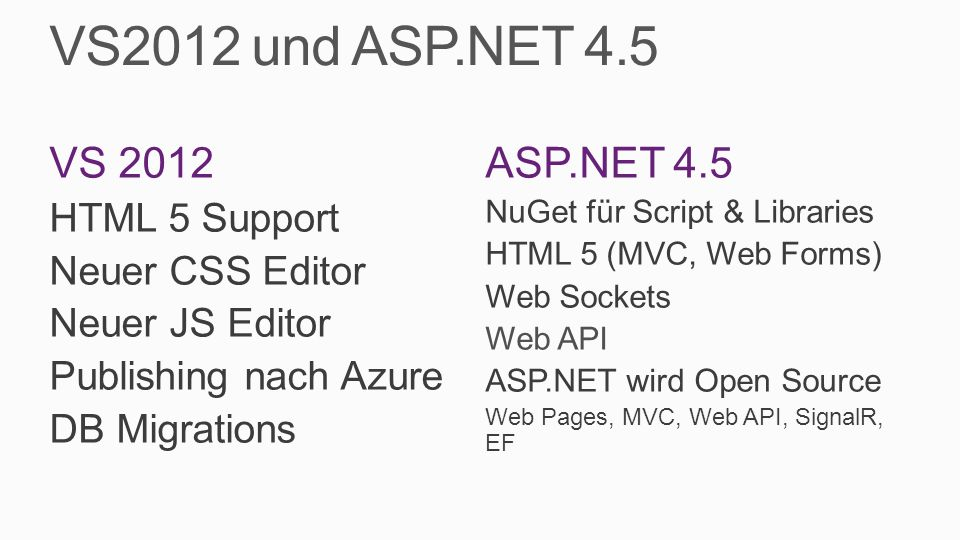 VS2012 und ASP.NET 4.5 VS 2012 HTML 5 Support Neuer CSS Editor Neuer JS Editor Publishing nach Azure DB Migrations ASP.NET 4.5 NuGet für Script & Libr