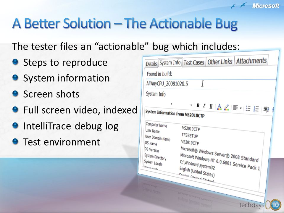 The tester files an actionable bug which includes: Steps to reproduce System information Screen shots Full screen video, indexed IntelliTrace debug log Test environment