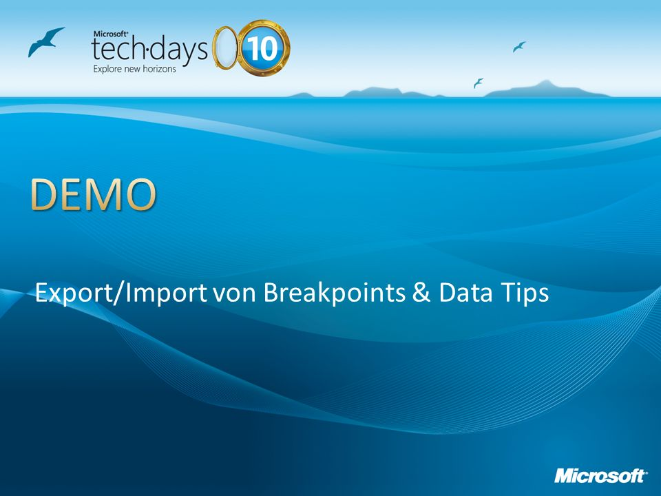 Export/Import von Breakpoints & Data Tips