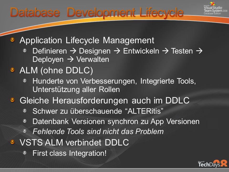 Application Lifecycle Management Definieren Designen Entwickeln Testen Deployen Verwalten ALM (ohne DDLC) Hunderte von Verbesserungen, Integrierte Tools, Unterstützung aller Rollen Gleiche Herausforderungen auch im DDLC Schwer zu überschauende ALTERitis Datenbank Versionen synchron zu App Versionen Fehlende Tools sind nicht das Problem VSTS ALM verbindet DDLC First class Integration!