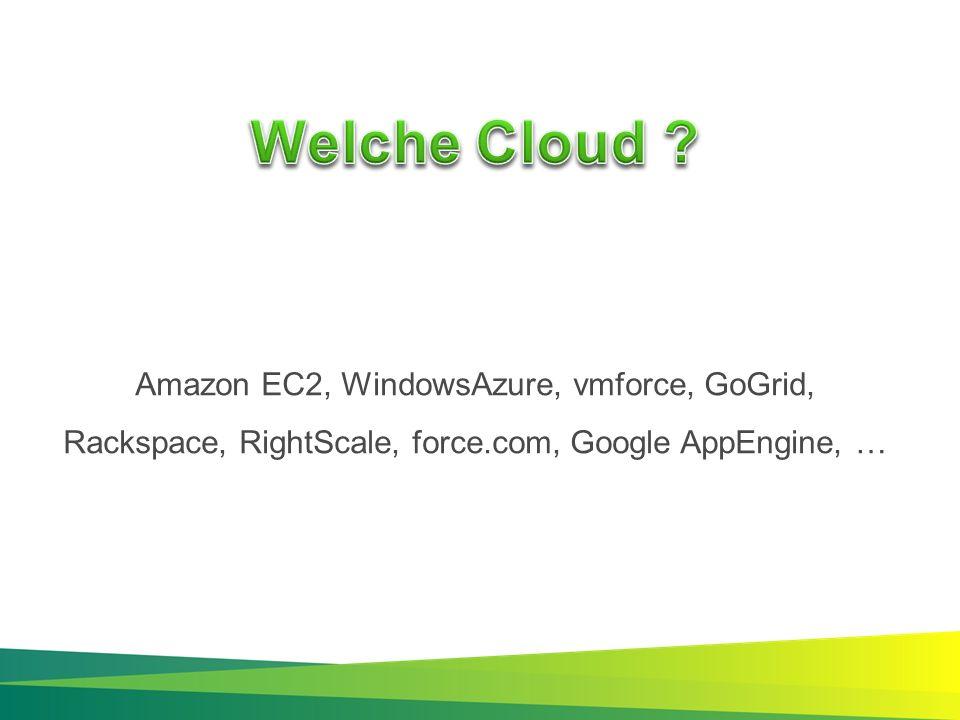 Amazon EC2, WindowsAzure, vmforce, GoGrid, Rackspace, RightScale, force.com, Google AppEngine, …