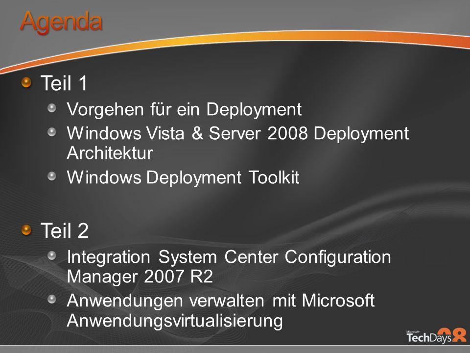 Teil 1 Vorgehen für ein Deployment Windows Vista & Server 2008 Deployment Architektur Windows Deployment Toolkit Teil 2 Integration System Center Conf