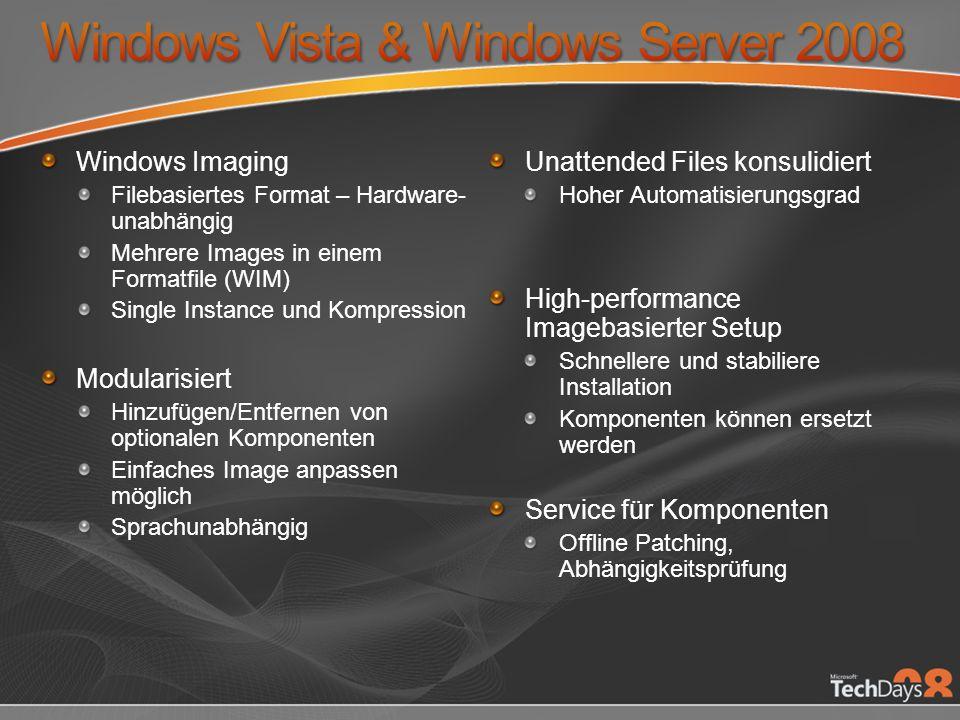 Windows Imaging Filebasiertes Format – Hardware- unabhängig Mehrere Images in einem Formatfile (WIM) Single Instance und Kompression Modularisiert Hin
