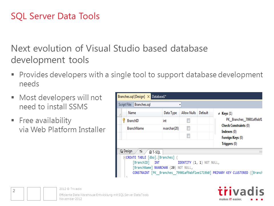 2012 © Trivadis SQL Server Data Tools Next evolution of Visual Studio based database development tools Provides developers with a single tool to suppo
