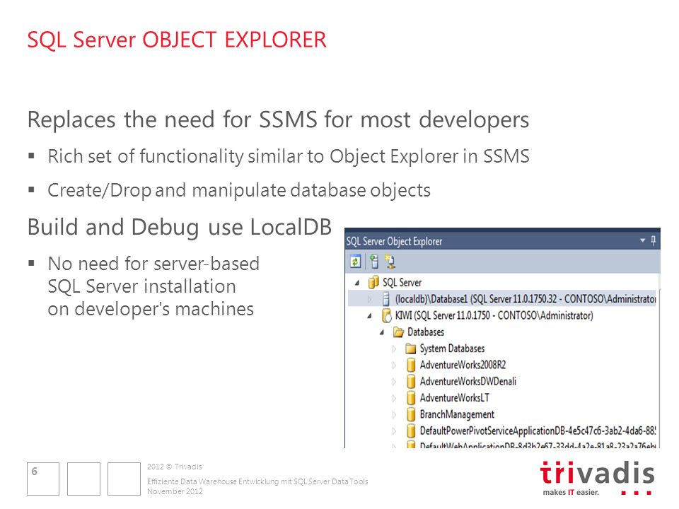 2012 © Trivadis SQL Server OBJECT EXPLORER Replaces the need for SSMS for most developers Rich set of functionality similar to Object Explorer in SSMS