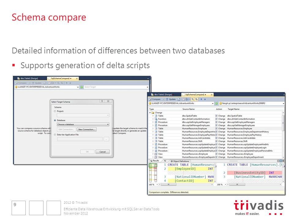 2012 © Trivadis Schema compare Detailed information of differences between two databases Supports generation of delta scripts November 2012 Effiziente Data Warehouse Entwicklung mit SQL Server Data Tools 9
