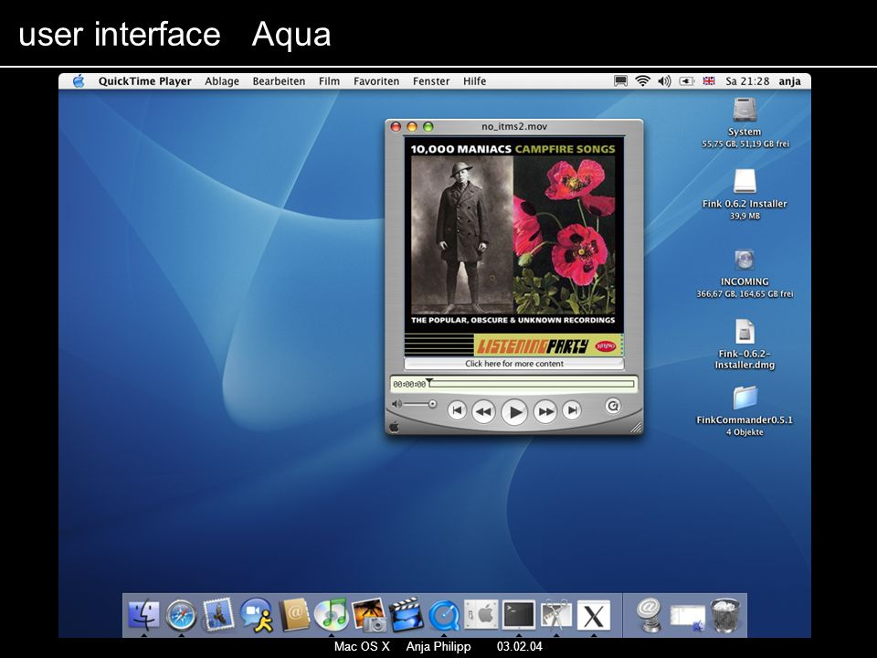 Mac OS X Anja Philipp 03.02.04 user interface Aqua