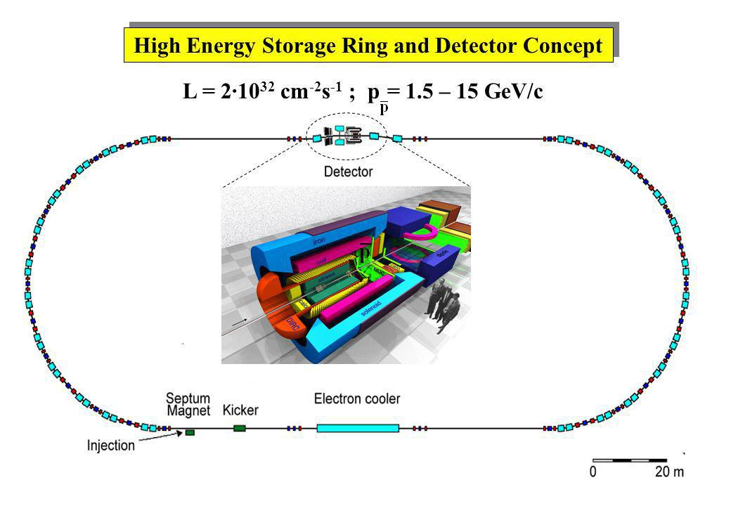 High Energy Storage Ring and Detector Concept L = 2·10 32 cm -2 s -1 ; p = 1.5 – 15 GeV/c